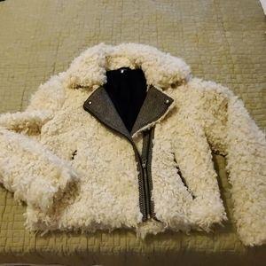 Free People beige fuzzy jacket
